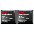 KOMPUTERBAY 2 PACK - 64GB Professional COMPACT FLASH CARD CF 1000X 155MB/s Read and 140MB/s write Extreme Speed UDMA7 RAW 64 GB