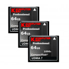 KOMPUTERBAY 3-PACK 64GB Professional COMPACT FLASH CARD CF 1050X WRITE 100MB/S READ 160MB/S Extreme Speed UDMA 7 RAW 64 GB