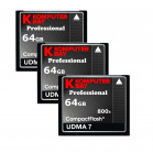 KOMPUTERBAY 3-PACK - 64GB Professional COMPACT FLASH CARD CF 800X 120MB/s Extreme Speed UDMA 7 RAW 64 GB