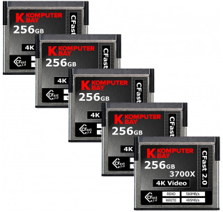 Komputerbay 5-Pack Professional 3700x 256GB CFast 2.0 Card (Up to 560MB/s Read and up to 495 MB/s Write)