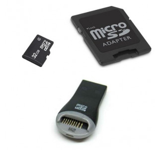 Komputerbay 32GB MicroSD SDHC Class 2 with MicroSDHC Adapter and SanDisk Mobile Mate reader