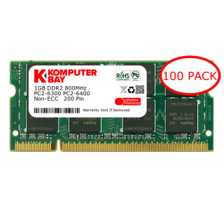 Komputerbay 100-PACK - 1GB DDR2 PC-6300/PC-6400 800MHz 200 Pin SODIMM Laptop Memory with Hynix semiconductors