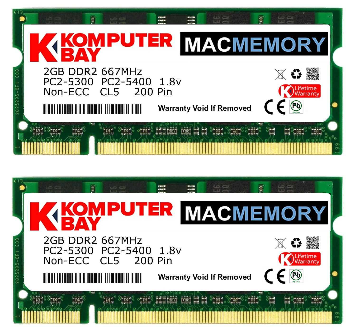 Komputerbay Macmemory Apple 4gb Kit 2x 2gb Pc2 5300 667mhz Ddr2 Ram Laptop 6400 Asli Jepang Close
