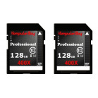 Komputerbay 2 PACK - 128GB SDXC Secure Digital Extended Capacity Speed Class 10 400X UHS-I Ultra High Speed Flash Memory Card 45MB/s Write 60MB/s Read 128 GB