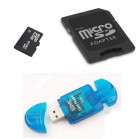 Komputerbay 32GB MicroSD SDHC Class 2 with MicroSDHC Adapter and Blue USB SD Reader