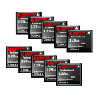 KOMPUTERBAY 10-PACK - 128GB Professional Compact Flash Card CF 600X 90MB/s Extreme Speed UDMA 6 RAW 128 GB