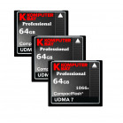 Komputerbay 3-PACK 64GB Professional Compact Flash card 1066X CF write 155MB/s read 160MB/s Extreme Speed UDMA 7 RAW