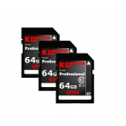 Komputerbay 3-PACK - 64GB SDXC Secure Digital Extended Capacity Speed Class 10 600X UHS-I Ultra High Speed Flash Memory Card 40MB/s Write 90MB/s Read 64 GB